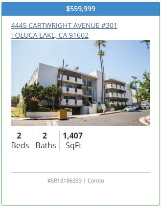 4445 Cartwright Ave 301 Toluca Lake CA Condo for Sale